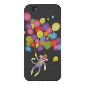 Sock Monkey with colorful balloons iPhone 5/5S Case