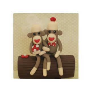 Sock Monkey Woodland Wedding Couple Wood Prints