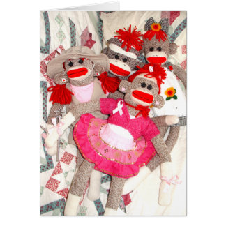 Sock Monkeys for the Cure Bunch of Friends Card