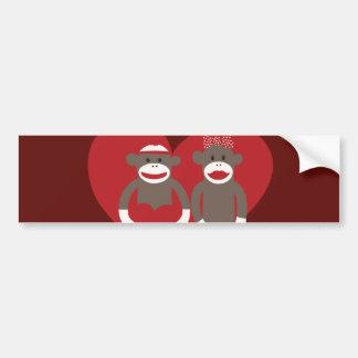 Sock Monkeys in Love Hearts Valentine's Day Gifts Car Bumper Sticker