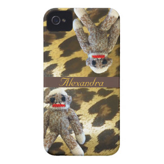 Sock Monkeys on Girly Leopard Fur Case-Mate iPhone 4 Cases