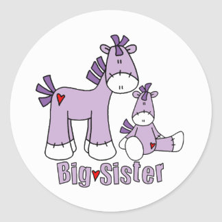 Sock Ponies Big Sister Round Sticker