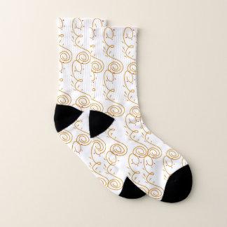 Socks gold white Ethno