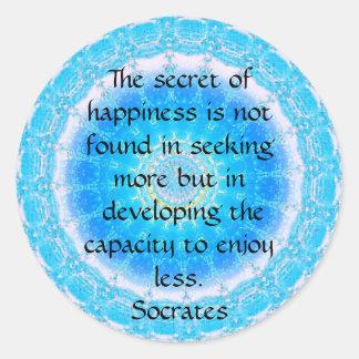 Socrates inspirational quote about Minimalism Round Sticker