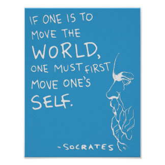 Socrates Move The World Quote Poster Blue