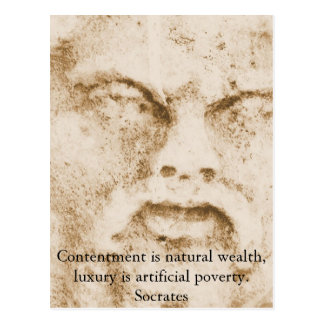 Socrates quote about minimalism and materialism postcard