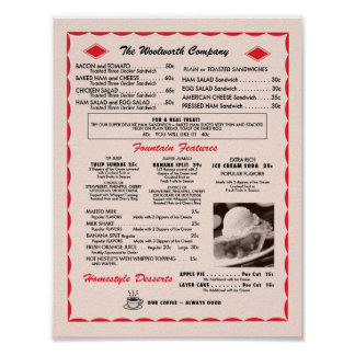 Soda Fountain Menu poster