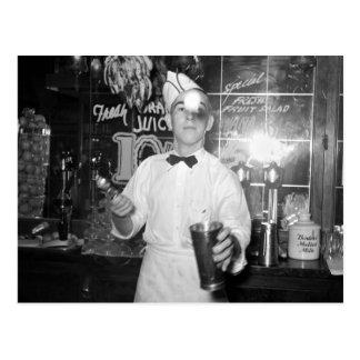 Soda Jerk, 1930s Postcard