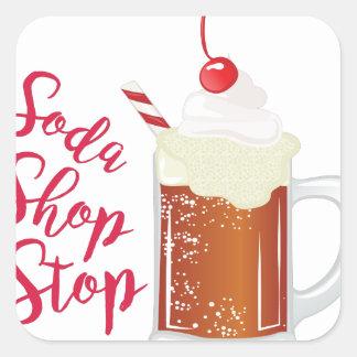 Soda Shop Stop Square Sticker