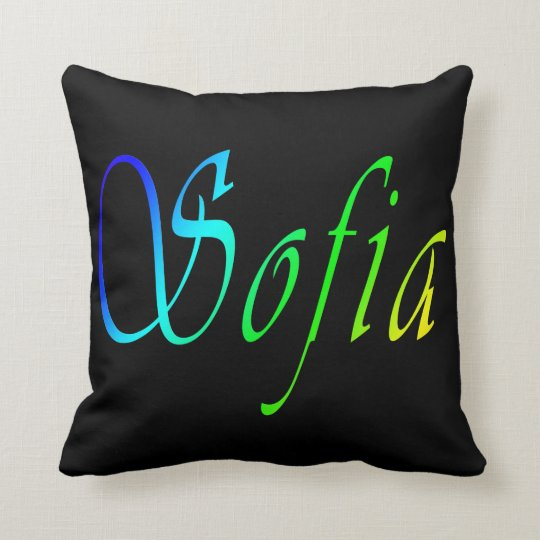 Sofia, Name, Logo, Black Throw Cushion