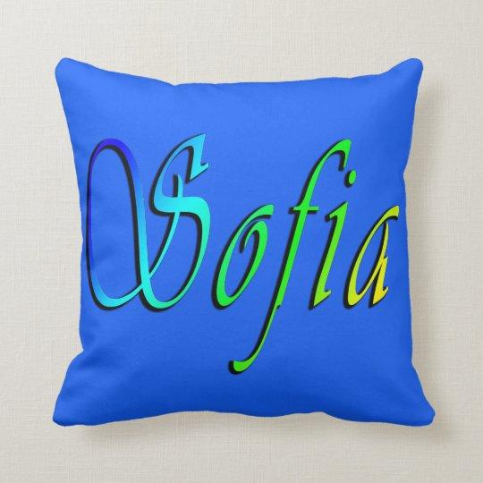 Sofia, Name, Logo, Blue Throw Cushion