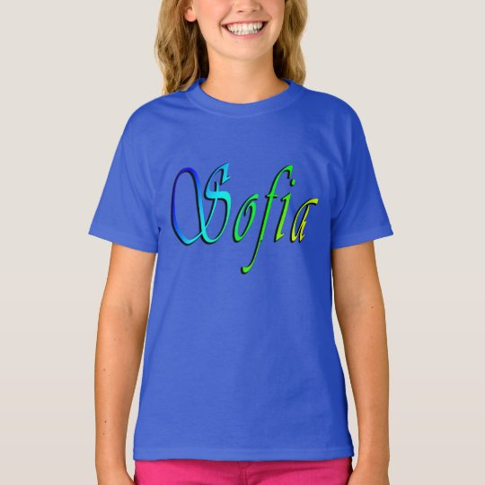 Sofia, Name, Logo, Girls Blue T-shirt