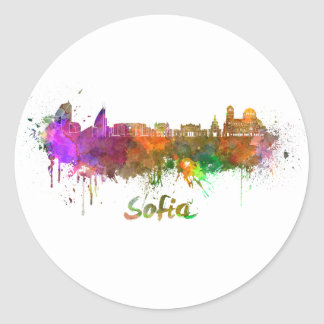 Sofia skyline in watercolor round sticker