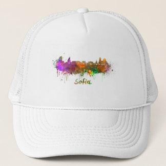 Sofia skyline in watercolor trucker hat