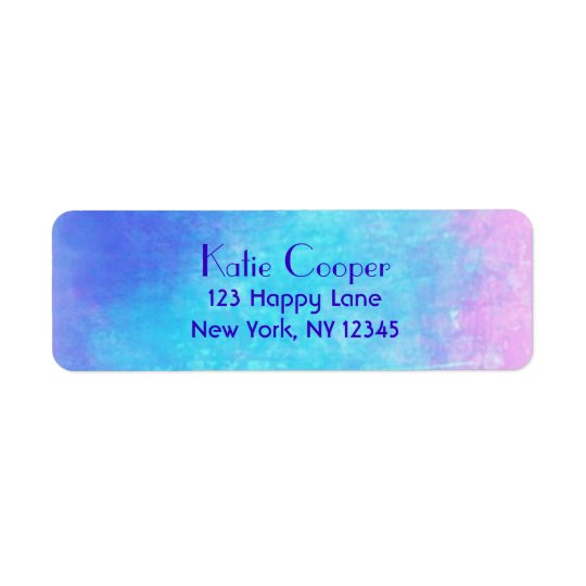 Soft Abstract Watercolors in Pink Purple and Blue Return Address Label