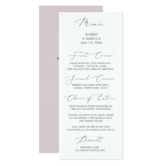 Soft and Elegant Wedding Menu Card
