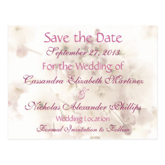 Soft Apple Blossoms Save the Date Wedding Postcard
