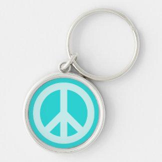 Soft Aqua Peace Symbol Key Chains