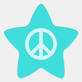 Soft Aqua Peace Symbol Star Sticker