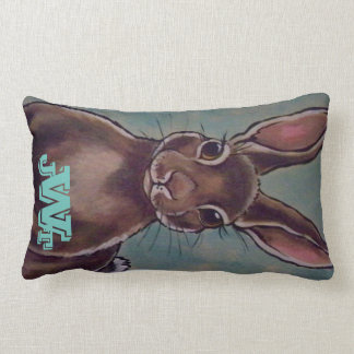 Soft Aqua Tan Rabbit Hare Pillow Personalized