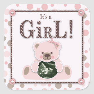 Soft as a Teddy Bear Girl Square Sticker