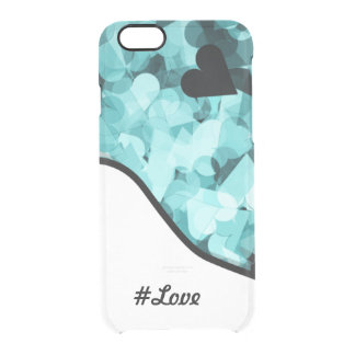 Soft Baby Blue Kawaii Hearts Background Clear iPhone 6/6S Case