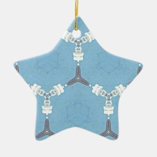 Soft Baby Blue White Gray Geometric Pattern Ceramic Ornament