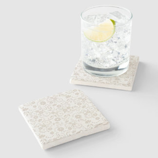 Soft beige and white floral stone coaster