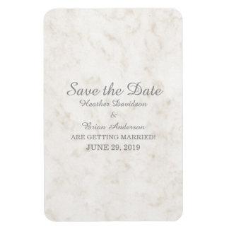 Soft Beige Elegant Marble Save the Date Rectangular Photo Magnet