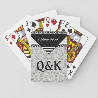 Soft Black and White Feminine Pattern Poker Deck