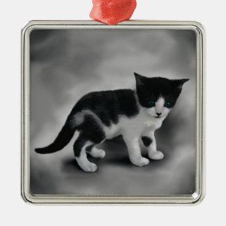 Soft Black & White Kitten Silver-Colored Square Decoration