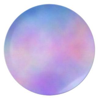 Soft Blue And Pink Tye Dye Plate