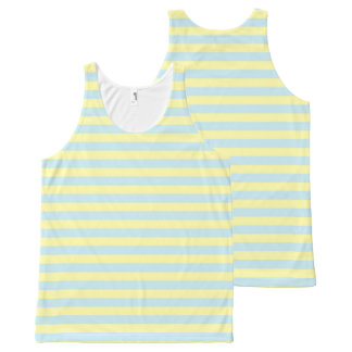 Soft Blue and Soft Yellow Stripes All-Over Print Singlet
