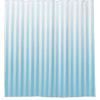 Soft Blue and White Stripes Shower Curtain