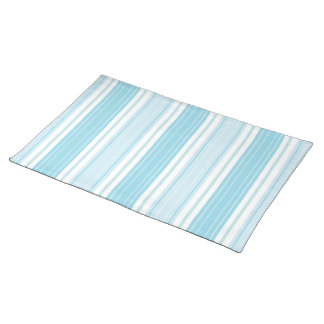 Soft Blue & Aqua with White Seaside Stripe Pattern Placemats