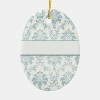 Soft Blue Damask With White Label Ceramic Oval Decoration