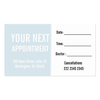Soft Blue Engaging Patient Client  Appointment Pack Of Standard Business Cards