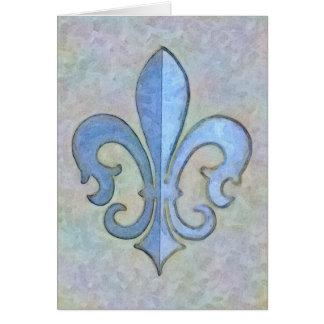 Soft Blue Fleur De Lis Card