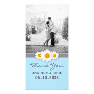 Soft Blue Floral Wedding Daisies Thank You Card Personalized Photo Card