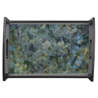 Soft Blue Orchard impressionist floral Tray Service Tray