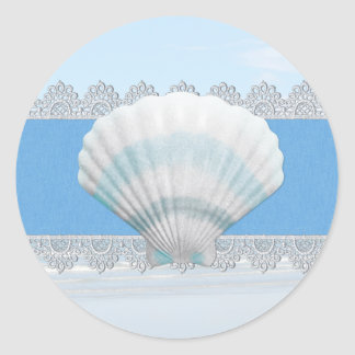 Soft Blue Seashell And Lace Round Sticker