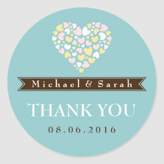 Soft Blue Small Hearts Wedding Favor Sticker