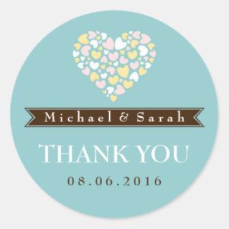 Soft Blue Small Hearts Wedding Favor Sticker