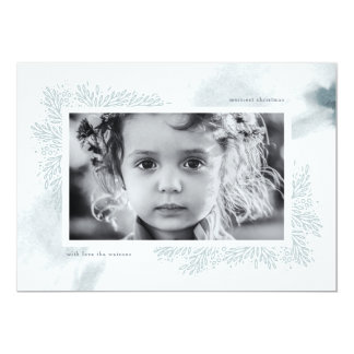 Soft Blue Watercolor Flower Christmas Photo Card