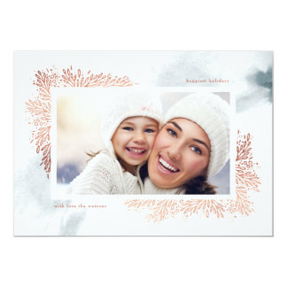 Soft Blue Watercolor Flower Holiday Photo Card