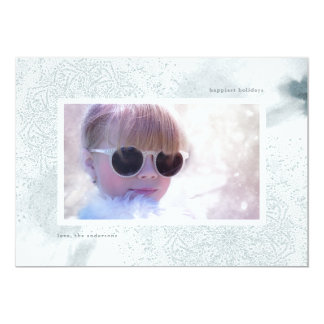 Soft Blue Watercolor Holiday Christmas Photo Card