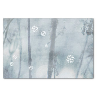 Soft Blue Winter Landscape and Snow Flakes Tissue Paper
