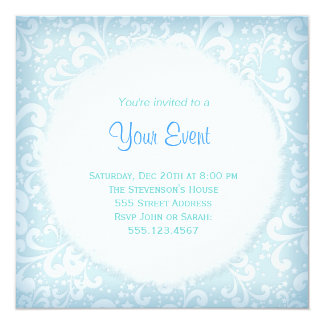 Soft Blues and White Plumes Invitation