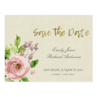 SOFT BLUSH PINK WATERCOLOUR FLORAL SAVE THE DATE POSTCARD