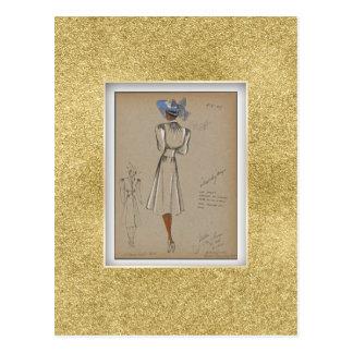 Soft bodice coat shirring under collar black postcard